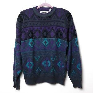 Saturdays   VINTAGE Vibrant Geometric Sweater L